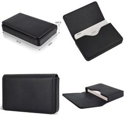 genuine leather business card holder case rfid