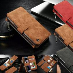 Genuine Leather Case Magnetic Zipper Wallet Card Cover For i