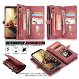 Genuine Leather Removable Magnetic Wallet Case Cover for iPh