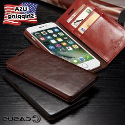 For iPhone XS MAX XR 8/7 Plus Genuine Leather SLIM Wallet Ca