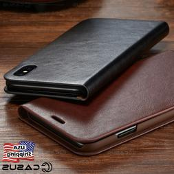 Genuine Leather Wallet Card Flip Cover Case for iPhone XS MA