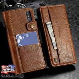 Genuine Leather Wallet Card Holder Flip Stand Case for iPhon