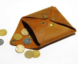 Genuine Leather Wallet Coin Pouch EarBuds Case