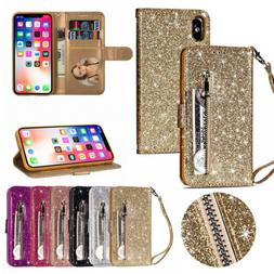 Glitter Bling Leather Zipper Wallet Case Cover for iPhone 11