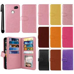 """For Google Pixel 2 XL 6"""" 2017 PU Leather Wallet Cover Case W"""