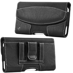 LUXMO Horizontal Leather Case, Genuine Leather Pouch Holster