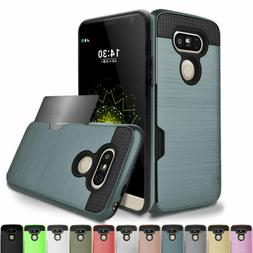 Hybrid Rubber Shockproof Card Wallet Hard Case Cover For LG