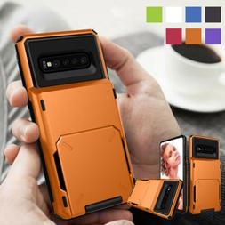 Hybrid Rugged Armor Case Wallet Card Slot Cover For Samsung