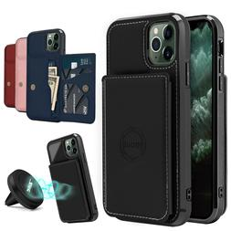 For iPhone 11,11 Pro Max Case Magnetic Cover With Card Walle