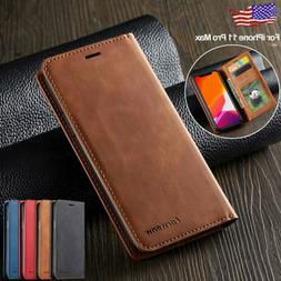For iPhone 11 Pro Max Case Leather Magnetic Flip Wallet Card