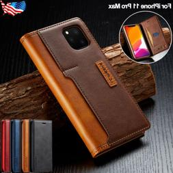 For iPhone 11 Pro Max Leather Flip Wallet Card Slot Case Mag