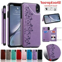 For iPhone 11 Pro Max XS XR X 7 8 Plus 6S Women Leather Card