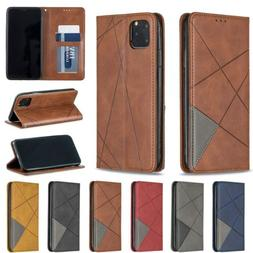 For iPhone 11 Pro/XS Max/X/7 8+ Retro Leather Flip Card Wall