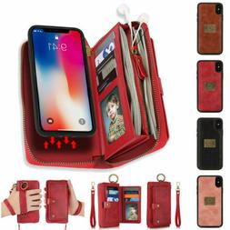 For iPhone 12 Pro Max 11 8 7+ Women Purse Leather Zipper Det