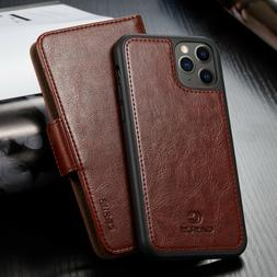 For iPhone 12/11 Pro Max XR XS Mini Removable Leather Wallet