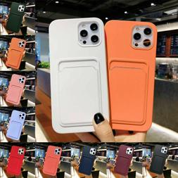 For iPhone 12 Pro Max 11 XS XR 8 7 Case Silicone Wallet Card