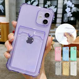 For iPhone 13 Pro Max 12 11 8 7 XS XR SE2 Card Holder Clear