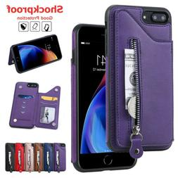 For iPhone 6 7 8 Plus 11 Pro MAX XS X XR Zipper Leather Wall