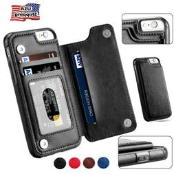 For iPhone 6 7 Plus Wallet Card Slot Case Leather Shockproof