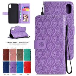 For iPhone 8 7 Plus 6 X XR XS MAX Magnetic Flip Leather Wall