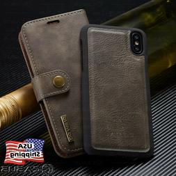 For iPhone X 8/7/6s Plus Leather Removable Wallet Magnetic F