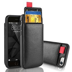 iPhone 8 Wallet Case, iPhone 7 Leather Case, LAMEEKU Shockpr