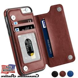 iPhone X & 8/7/6s Plus Leather Wallet Back Magnetic Flip Cov