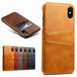 For iPhone X XS Max XR PU Leather Wallet Card Slot Holder Ba