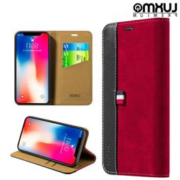 For iPhone X XS Wallet Phone Case Genuine Leather Cover Pouc