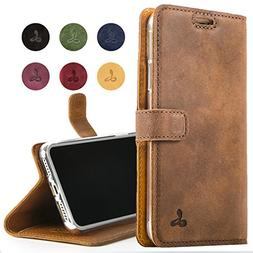 iPhone XR Case, Luxury Genuine Leather Wallet with Viewing S