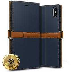 OBLIQ® iPhone XR/XS Max  Hand Made Leather Case Folio 3 Car