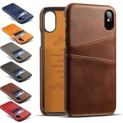 For iPhone 11 Pro Max Xs Xr 7 8+ Leather Wallet Card Holder
