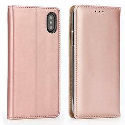 For iPhone Xs Max Leather Case Flip Wallet Cover with