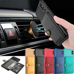 iPhone 11 Xs Max X 7 8 Magnetic Leather Wallet Cards Car Hol