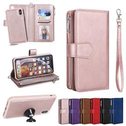 For iPhone XS Max XR X 7 8 6 6s Plus Removable Leather Zippe