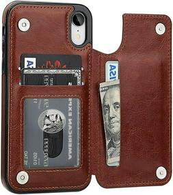 Leather iPhone Wallet Case X / XR / Xs Max Card Magnetic Cov