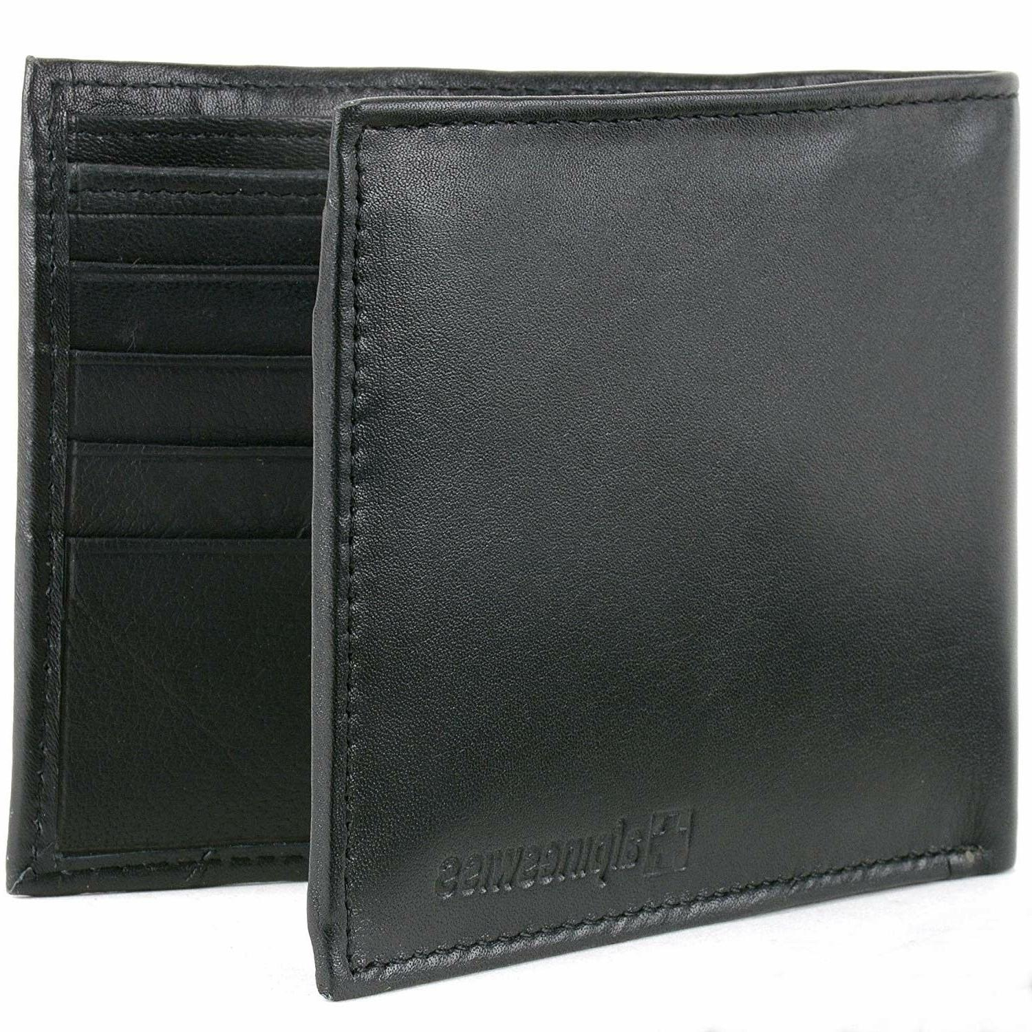 Alpine Swiss Mens Leather Wallets Money Clips Card Cases 6 T