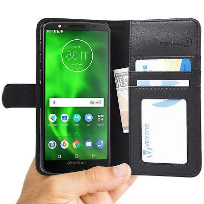 Black Flip Wallet Case for Motorola Moto G6 Case Cover w/ St
