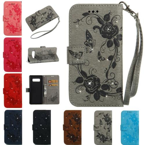 Diamond Butterfly Wallet Case Leather Cover fr Samsung Galax