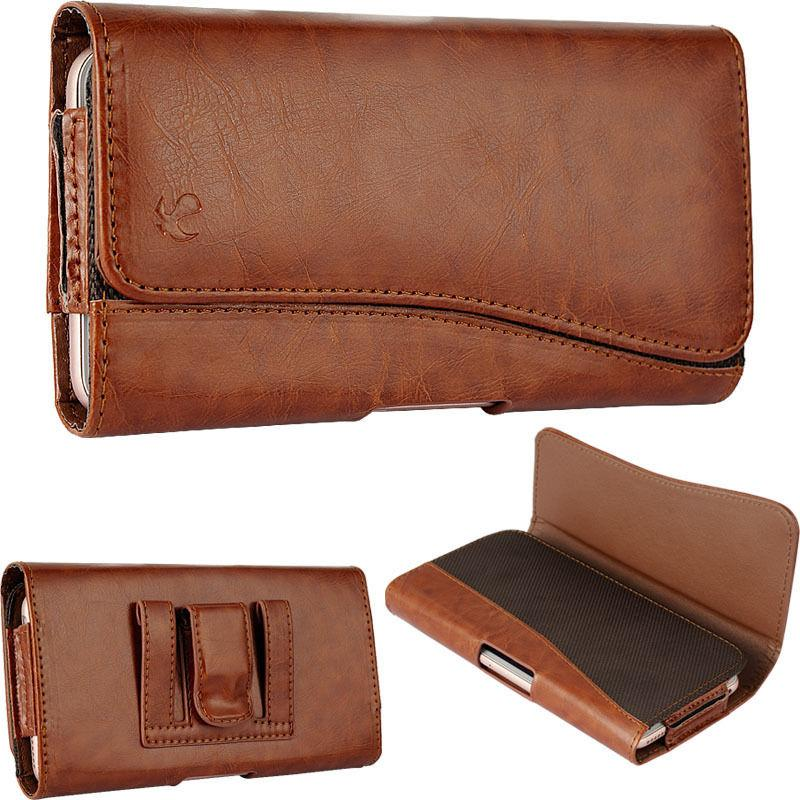Tan Leather Wallet Clip Holster Fits iPhone With Cover