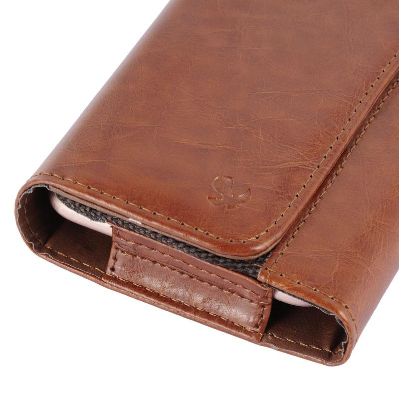 Tan Leather Sleeve Pouch Wallet Case Fits iPhone With Cover