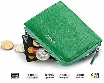 MEKU Womens Togo Leather Card Case Wallets Money Organizers