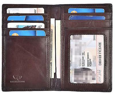 Mens Leather ID Card Holder Credit Wallet Business Organizer