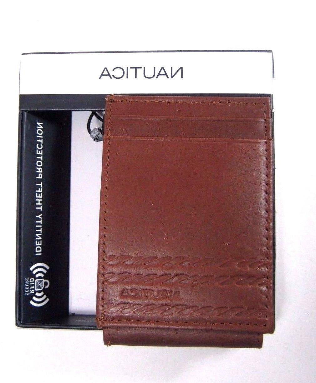 Nautica Front Pocket Wallet Magnetic Money Clip Card Case Ta