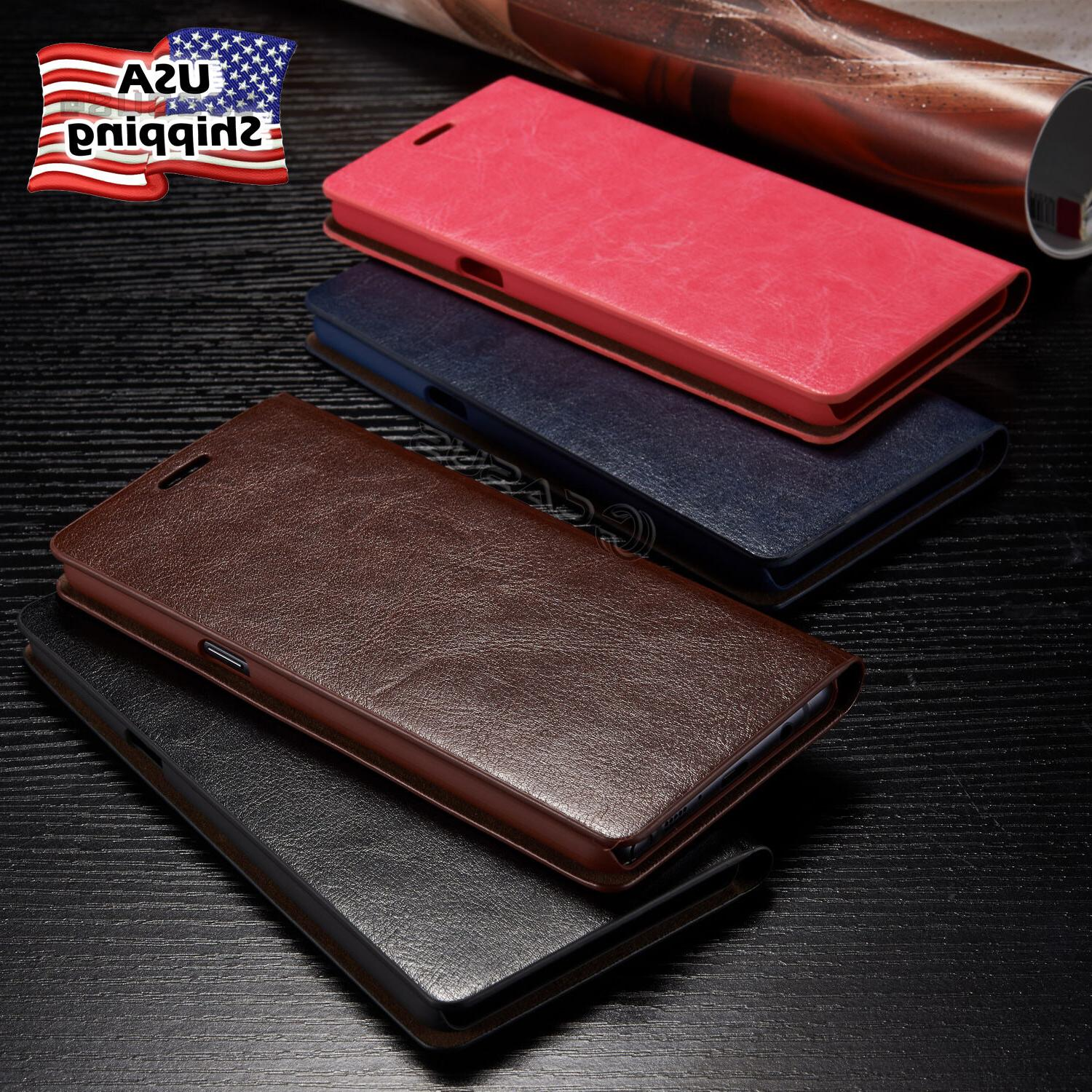 THIN Genuine Leather Wallet Card Case Cover For Galaxy Note