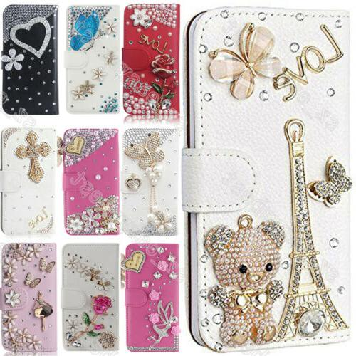 US Flip Bling Wallet Stand Case Crystal Luxury Leather Cover