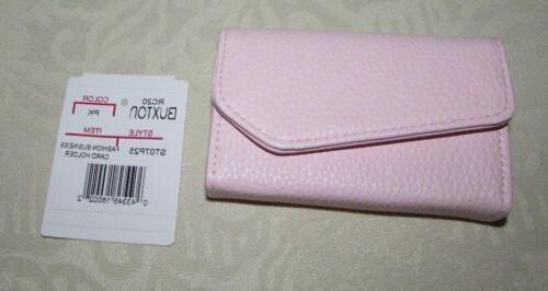 Women's PINK  Buxton Business Card Case Wallet Snap Close Le