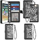Animal Print Wrist Strap Wallet TPU Case Cover for Apple iPh