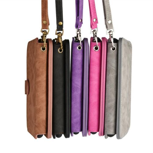 For Apple iPhone 7 Plus Wallet Case Strap Leather Wristlet C