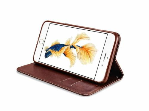 For iPhone XS MAX X 8 7 6S Plus Leather Holder Flip Case Stand
